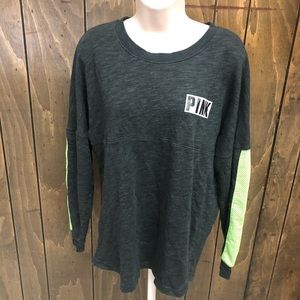 PINK VS grey and green oversized sweatshirt size M